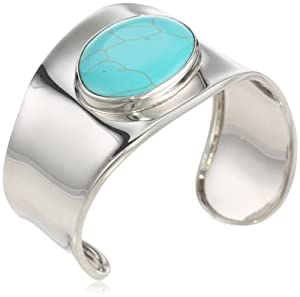 Sterling Silver Oval Simulated Turquoise Inlay Wave Cuff Bracelet