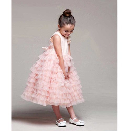 Crayon Kids Girls 3T Peach Tulle Tiered Flower Girl Easter Dress front-1035442