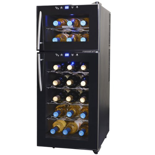 Find Bargain NewAir AW-210ED Streamline 21 Bottle Dual Zone Thermoelectric Wine Cooler, Black