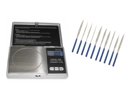 Electronic Scale and 10-piece Filing Set for Scrap Gold Hobby, Melting, Jewelry Repair