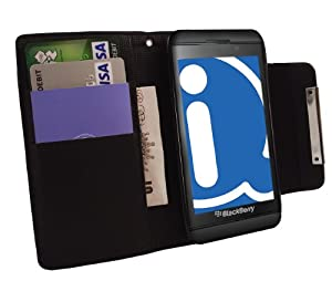 iTALKonline BLACK Executive Wallet Case Cover Skin Cover with Credit / Business Card Holder For BlackBerry Z10