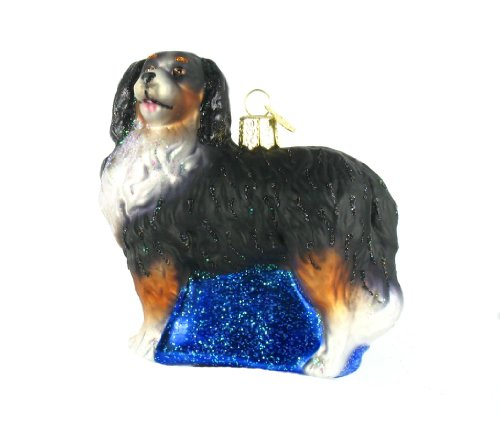Christmas Bernese Mountain Dog Glass Ornament