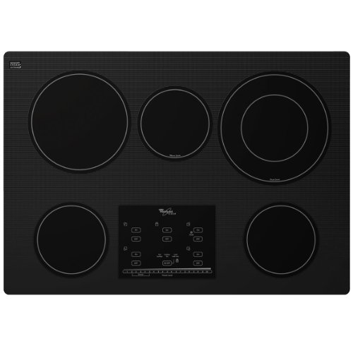 Whirlpool Gold G9CE3065XB 30 Smoothtop Electric Cooktop, 5 Elements, Tap Touch Controls, Black (30 Whirlpool Cooktop compare prices)