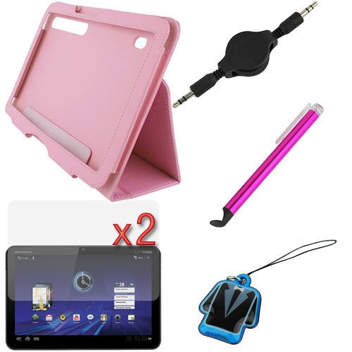 GTMax Pink PU Texture Leather Case with Stand + 2 X LCD Screen Protector + Universal Hot Pink Stylus + Black AUX Cable for Motorola Android Xoom Tablet (Free Gift BlueMall Cleaner Strap Included)