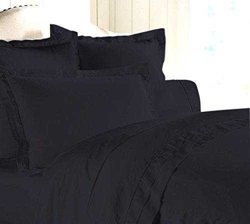 "Egyptian Cotton Luxurious Fitted Sheet With 16"" Deep Pocket 800 TC Solid By Amrich Bedding ( King , Black )"