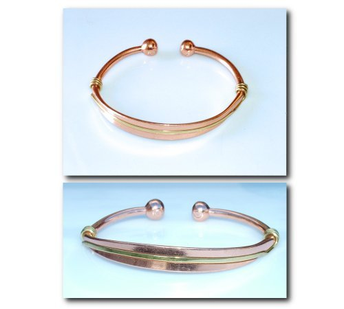 Brand New Magnetic Therapy Bracelet / Bangle Smooth Copper With Brass Twist Torque Design 35 Ml - Delicately Hand-Crafted And Superbly Finished - In The Uk And With A Free Gift