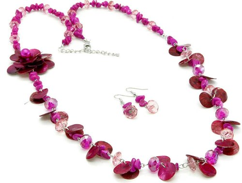 NECKLACE AND EARRING SET BEAD SHELL FUSCHIA Fashion Jewelry Costume Jewelry fashion accessory Beautiful Charms