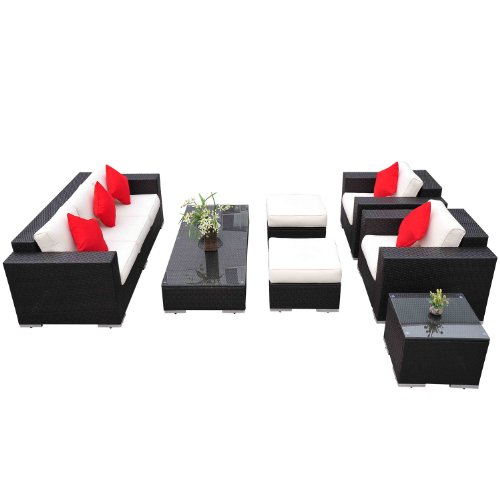 Outsunny 7pc PE Rattan Wicker Sectional Patio Sofa Furniture Set photo