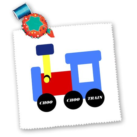 3Drose Qs_41700_6 Red Blue Yellow Train With Words Choo Choo Train-Quilt Square, 16 By 16-Inch front-89276
