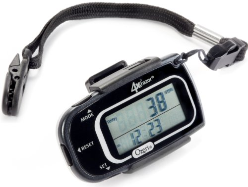 B005G00AH2 Ozeri 4x3razor Pocket 3D Pedometer and Activity Tracker with Bosch Tri-Axis Technology from Germany, Black