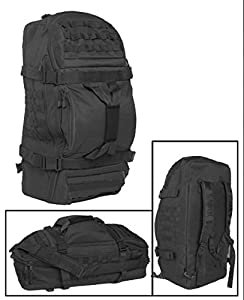 Army Patrol Backpack Recon Shoulder Bag 3 in 1 MOLLE Hiking Camping Travel Black
