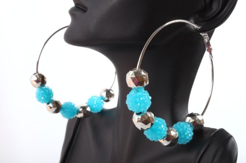 Neon Blue Shamballah 2.5 Inch Hoop Earrings with 3 Disco Balls and 4 Plated Balls Basketball Mob Wives Iced Out Lady Gaga Poparazzi