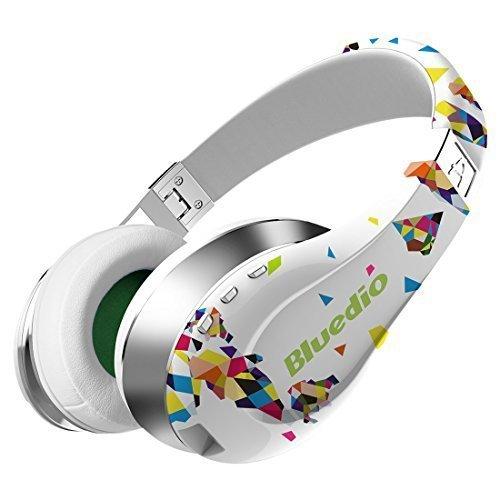 Bluedio A (Air) Fashionable Wireless Cuffie auricolari Bluetooth headphones with Microphone/ HD Diaphragm/ Twistable Headband/ 3D Surround Sound (White)