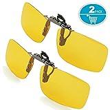 Clip-on Sunglasses, Splaks Unisex Polarized Frameless Rectangle Lens Flip Up Clip on Prescription Sunglasses Eyeglass, 2-Piece clip on glasses + Night Vision Glasses - Yellow