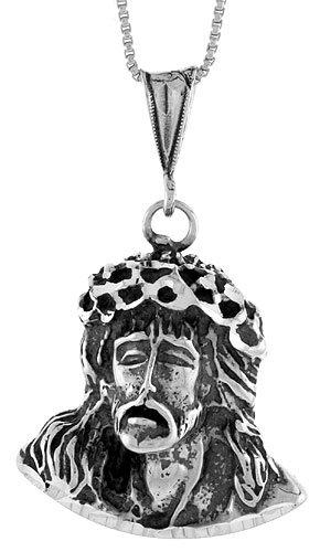 Sterling Silver Jesus Pendant, 1 1/4 inch