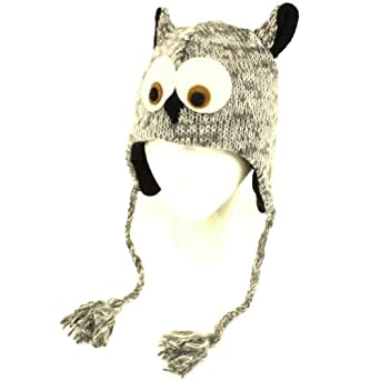 Winter Himalayas Handmade Knit Trooper Lined Hat Owl Gray