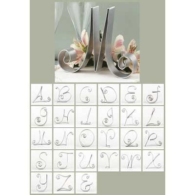Silver Monogram Wedding Cake Topper A-Z Cake Letter back-866731