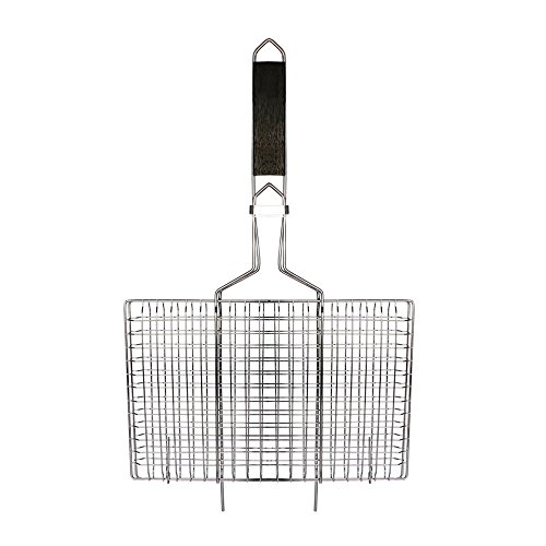 AccMart Nonstick Fish Grilling Basket Folding for Roast BBQ Barbecue with Wood Handle (Fish Rack For Grilling compare prices)