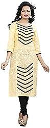 Twinkal Women's Pure Cotton Straight Fit Embellished Kurti / Kurta (TWKR00048-51_XL, Yellow, XL)