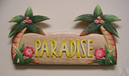 Palm Tree Beach Paradise Wall Art Sign Indoor Outdoor
