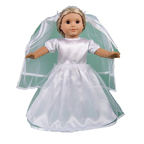 ATool White Wedding Dress Fits 18 Inch Dolls 2pc - 1