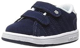 K-Swiss Lozan Strap Deluxe Suede TDL Tennis Shoe (Infant/Toddler),Navy/White,6.5 M US Toddler