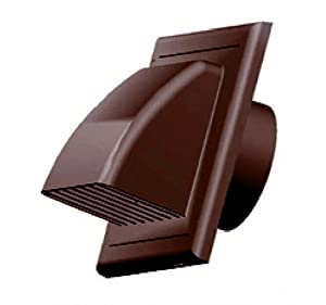 Air Vent Grill Cover Gravity Flap Ducting 125mm Brown External Ventilation Cover