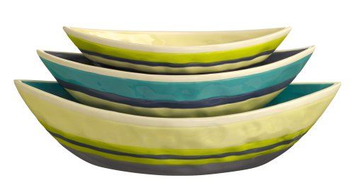 Grasslands Road Ceramic Nested Boat Bowls, 10-Inch, Set Of 6