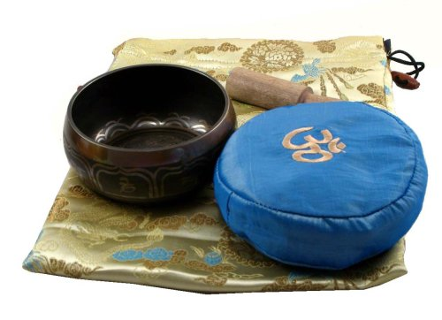 Tibetan Buddhist Singing Bowl Gift Set- Ivory Bag with a Blue Pillow