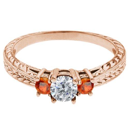 0.56 Ct Round G/H Diamond Orange Sapphire 14K Rose Gold 3-Stone Ring