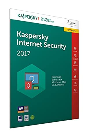 Kaspersky Internet Security 2017 3 Lizenzen Upgrade (Code in a Box) (FFP)