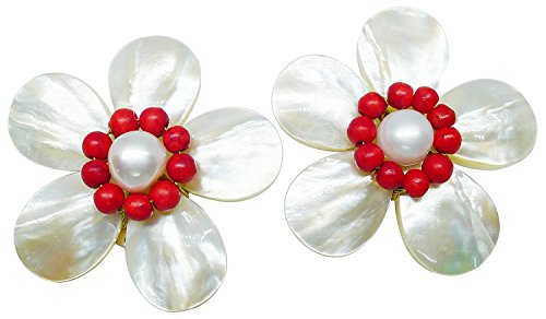 Bijoux De Ja Pearl Red Coral Beads and Mother of Pearl Flower Clip-on Earring (Jack Pearl Lewis compare prices)