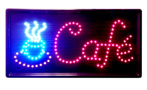"10""X19"" Animated Led Neon Light Cafe Sign, 2 On/Off Switches + Chain"