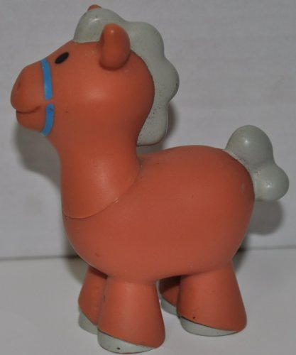 Little People Horse Brown - Replacement Figure - Classic Fisher Price Collectible Figures - Loose Out Of Package & Print (OOP) - Zoo Circus Ark Pet Castle - 1
