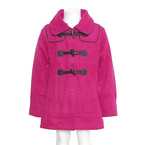 Girls Pink Hooded Wool Toggle Fall Winter Coat Jacket Girls 4-16