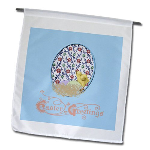 Fl_174113_1 Beverly Turner Easter Design And Photography - Yellow Chick, Nest, Eggs, Flowered Background, Yellow, Blue, Pink, Green - Flags - 12 X 18 Inch Garden Flag front-286808