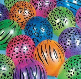 12 x Neon Bright Safari Animal Print 11 inch Balloons