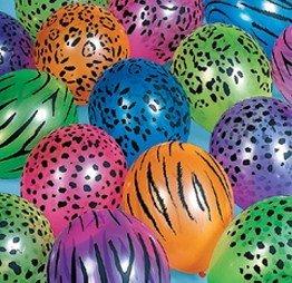 12 x Neon Bright Safari Animal Print 11 inch Balloons