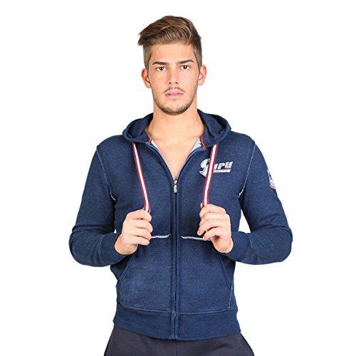Guru - Felpa con Cappuccio e Zip Logo Testo - Uomo (M) (Blu navy)
