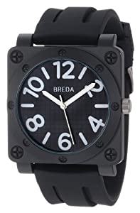 Breda Men's 8146-Black Matthew Oversized Square Bolted Case Sport Watch