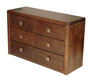 Roma Dark Wood 6 Drawer Wide Chest Of Drawers Kitchen Home