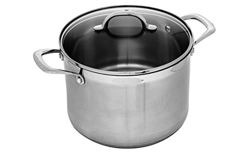 Swiss Diamond Premium PSL31724i Stainless Stock Pot with Lid, 8 quart/9.5