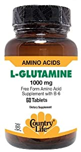 Country Life L-Glutamine 1000 mg with B-6,  Tablets, 60-Count