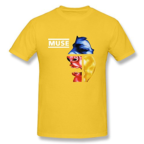 JeFF Men's Muse Band O-neck Tee Shirt Yellow (US Size)