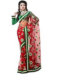 Prafful Net Bhagalpuri Printed Saree With Unstitched Blouse - B00KNUMKZ0