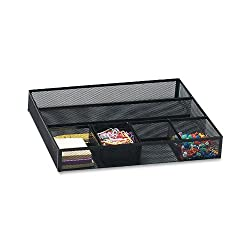 Rolodex 22131 Rolodex Deep Desk Drawer Organizer, Metal Mesh, 15-1/4Wx11-7/8Dx2-1/2H, BLK