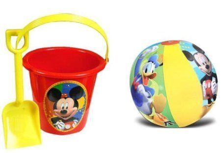 Mickey Mouse Sand Bucket and Shovel + Beach Ball Set