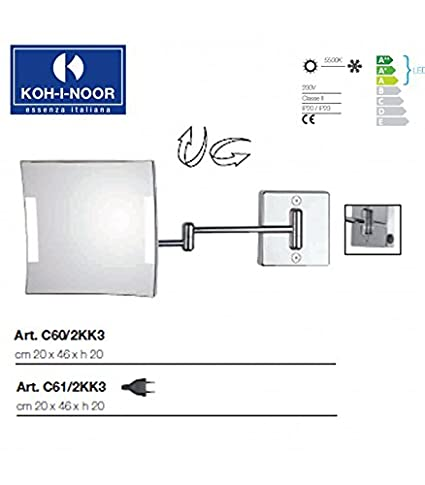 Koh-I-Noor C61/2KK3 Specchio Ingranditore X3 Quadrolo LED, Cromo