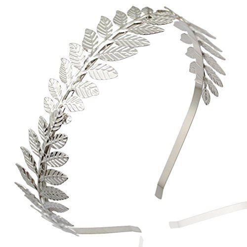 [NUOLUX Roman Goddess Leaf Branch Dainty Bridal Hair Crown Head Dress Boho Alice Band (Silver)] (Roman Goddess Accessories)