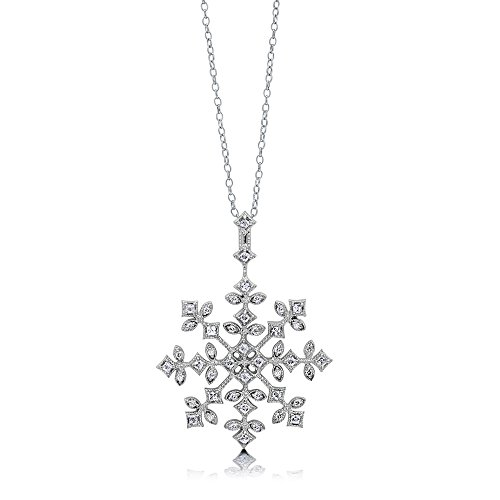 Berricle Sterling Silver Cubic Zirconia Cz Snowflake Pendant Necklace